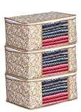 Porchex Presents Non Woven Saree Cover Storage Bags for Clothes with primum Quality Combo Offer Saree Organizer for Wardrobe/Organizers for Clothes/Organizers for Wardrobe (Pack Of 3, Beige)