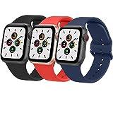 Wanme 3 Pack Correa Compatible con Apple Watch 38mm 42mm 40mm 44mm, Pulsera de Repuesto de Silicona Suave para iWatch Series SE 6 5 4 3 2 7, Mujer y Hombre (38mm/40mm,Negro/Rojo Naranja/Azul Marino)