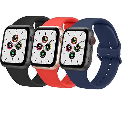 Wanme 3 Pack Correa Compatible con Apple Watch 38mm 42mm 40mm 44mm, Pulsera de Repuesto de Silicona Suave para iWatch Series SE 6 5 4 3 2 8, Mujer y Hombre (42mm/44mm,Negro/Rojo Naranja/Azul Marino)