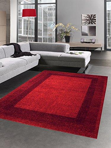 CARPETIA Moderno Tappeto pello Basso Tappeto da Salotto Rosso Größe 80x150 cm