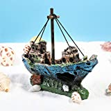 UEETEK Fish Tank Zubehör Schiff Aquarium Ornament Dekoration für kleine Fische Garnelen Cichild Schildkröte - 4