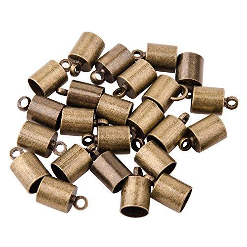 PH PandaHall - 50 unidades de collar de latón de bronce envejecido, estilo encolado, con cierre de tuerca, 5 mm