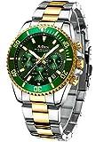 Mens Watches Men Designer Chronograph Waterproof Analogue Quartz Watch Men Stainless Steel Wrist Watch Fashion Date Watches for Men Gold Green