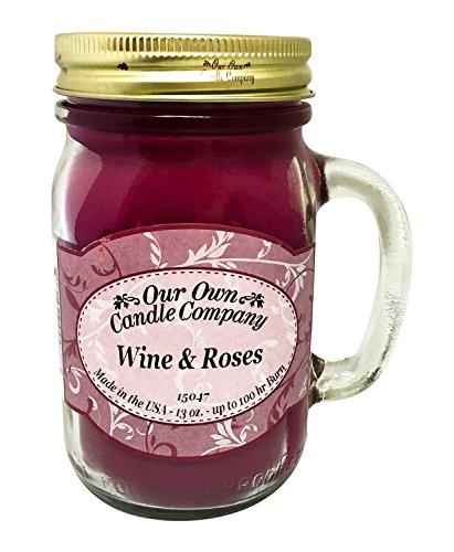 Vino y rosas perfumadas tarro de cristal vela - 13 onzas de nuestra propia compañía de vela (100hrs de combustión)