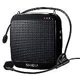 Amplificador de voz portátil SHIDU con auriculares con micrófono UHF, mini altavoz Bluetooth Pa, amplificador personal recargable de 15W 2000 mAh para profesores, guía turístico, ancianos, yoga