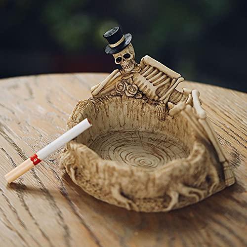 WZFANJIJ Ceniceros para Cigarrillos, Tibias Cruzadas En Llamas Cenicero para Esqueletos Espeluznantes, Decoraciones De Halloween O Figuras De Arte Medieval Y DecoracióN GóTica para El Hogar
