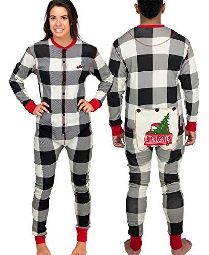 LazyOne Flapjack, Matching One-Piece Pajamas with Drop Seat, Adult XS–XXL (Tailgate, Large)