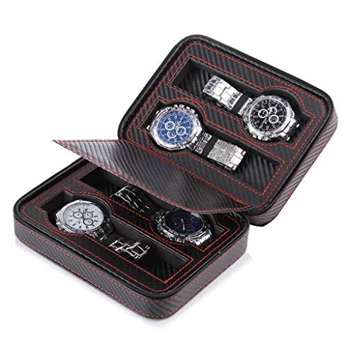 GOVD Caja para Relojes Hombre para 4 de Relojes Almacenamiento de Relojes Negro