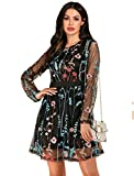 Milumia Women's Floral Embroidery Mesh Sheer Cocktail Party Dress Black