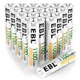 EBL 20 Pack AAA Rechargeable Batteries Ni-MH 1100mAh High Capacity