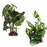 Planta artificial para acuario (24 – 25 cm de alto), hojas verdes de aspecto real, plantas de plástico, plantas acuáticas, plantas de acuario, plantas de acuario para tanques de peces.