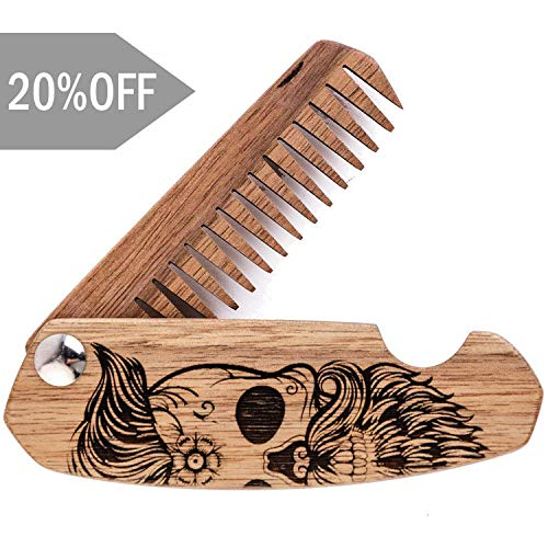 Wooden Beard Comb for Men. Folding Pocket Comb for Moustache, Beard & Hair. Walnut Combs Engraved w/Skull