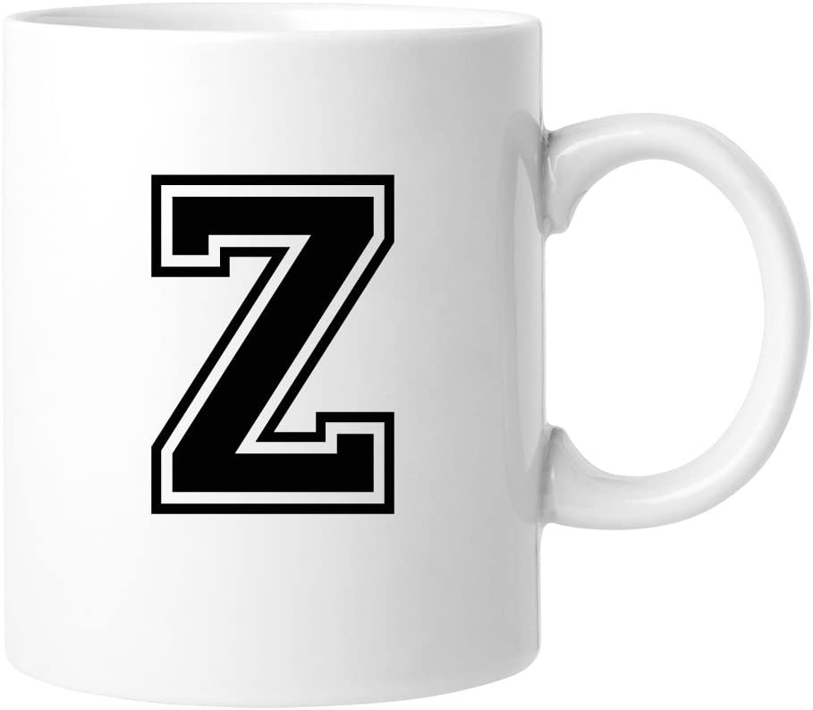 Sports Initial Many popular brands 11 ounce Coffee Letter Z 5% OFF 4pcs - Mug
