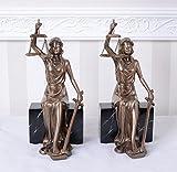 Zwei Justitia Figuren Buchstützen Anwaltskanzlei Buchständer Vintage IS274 Palazzo Exklusiv