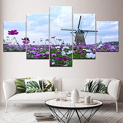 PANPAN Leinwand Malerei Blume Meer Windmühle Landschaft 5 Wandkunst Kombination Tapete Poster Druck Wohnzimmer Hauptdekoration