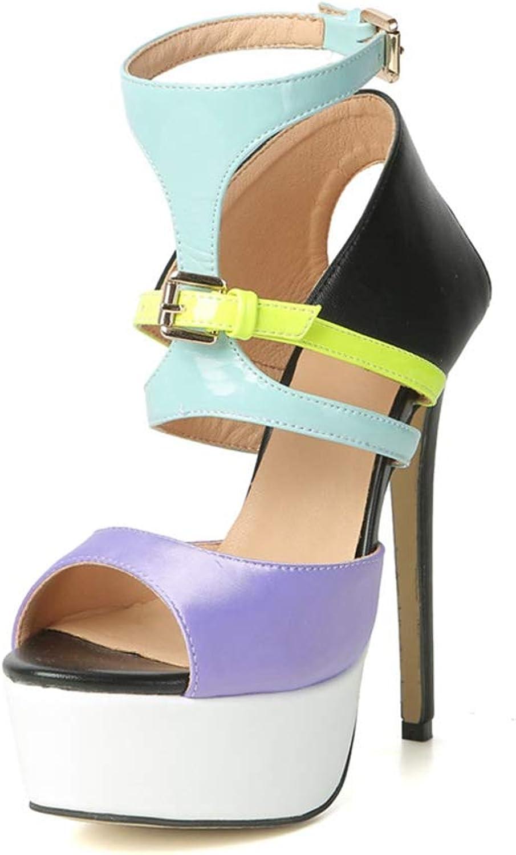 Sommarslam för kvinnor med flerfärgade modesandaler Plattformän hög klack Buckle Buckle Buckle Ladies skor  billigt i hög kvalitet