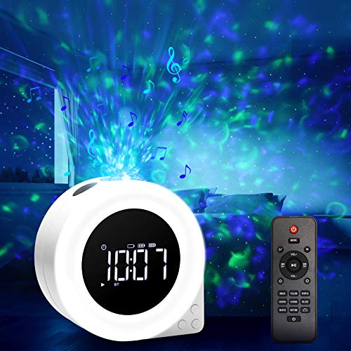 VOLADOR 6 in 1 LED Sternenlicht Projektor/Wecker/Kinder Lichtwecker/Bluetooth Lautsprecher/White Noise Machine/Farbwechsel Musikspieler mit Timer/Nachttischlampe mit Fernbedienung für Schlafzimmer