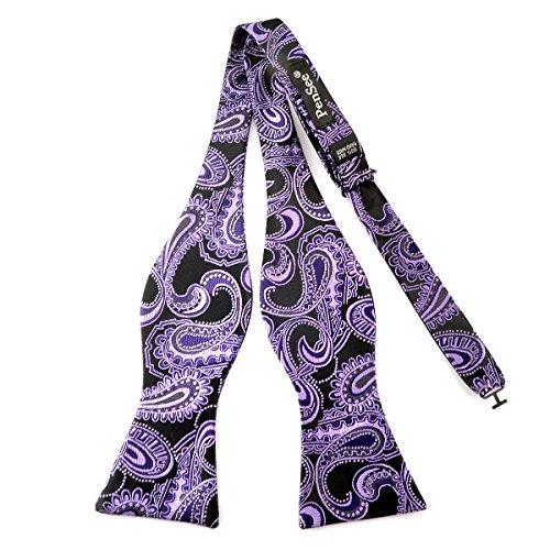 Pensee Nœud papillon pour homme en soie tissée jacquard Motif cachemire Noir/violet