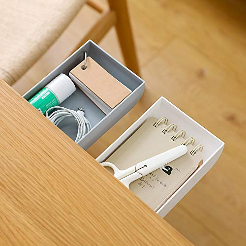 TuTuShop Under Table Drawer, Hidden Self-Adhesive Pencil Tray Drawer,Under Desk Holder Storage Box, Stationery Pencil Storage Drawer Organizer for Office/School/Kitchen (2 Pack White+Grey)
