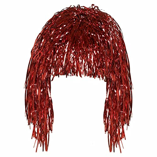 HoitoDeals Guirlande métallique brillante rétro pour fête à la maison, discothèque, accessoire de déguisement (1 pièce) Rouge