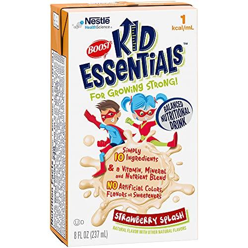 BOOST Kid Essentials 1.0 Balanced Nutritional Drink for Children, Strawberry Splash, 8 fl oz (Case of 27)