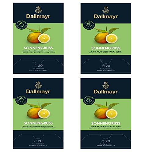 4 x Dallmayr Sonnengruss Grüner Tee 20 Pyramiden x 2,5g