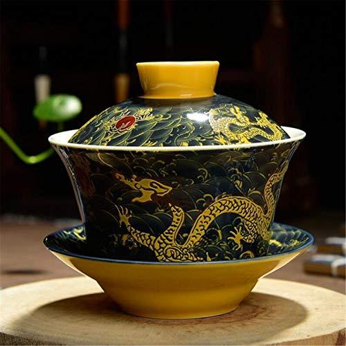 XinLuMing TRADIZIONI Cinese GAIWAN Servizio Tea di GAIWAN Drago ceramico Retro Big Bowls con Tazza di tè Kung Fu con Tazza da tè, 200 ml 2pcs (Color : E)