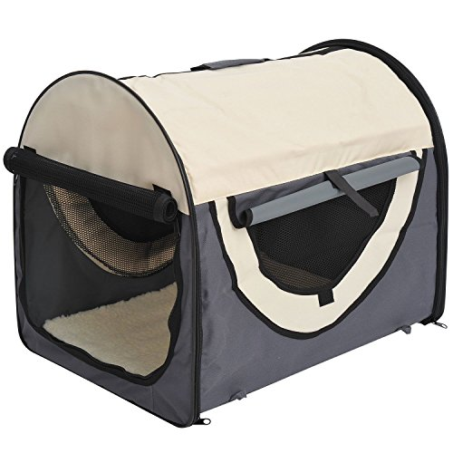 Pawhut Hundebox Faltbare Hundetransportbox Transportbox für Haustier Katzen dunkelgrau-Creme 81x56x66 cm