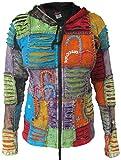 Gheri - Sudadera con capucha para mujer con diseño rasgado, bordado y parches de telas, lavada a la piedra Patchwork Verano 36