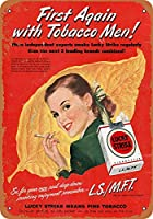 Shimaier 壁の装飾 メタルサイン 1953 Lucky Strike First Tobacco Men ウォールアート バー カフェ 縦20×横30cm ヴィンテージ風 メタルプレート ブリキ 看板