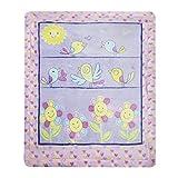 Delindo Lifestyle® Baby Krabbeldecke BIRDS, flauschig weiche Spieldecke, Babydecke 110x140 cm groß, für Mädchen