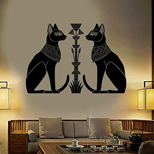 Pegatinas de vinilo para pared, puerta de gato egipcio, dioses egipcios antiguos, sala de estar, dormitorio, sofá, fondo, TV, fondo de pared, regalos creativos