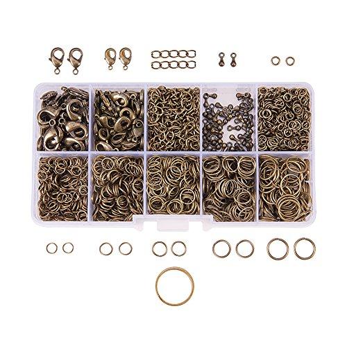 PandaHall Elite 1Box Über 1580 Pcs Jewelry Making Findings Kits mit Hummer Greifer Clasps Twist Chain Links Drop endet 22 Gauge Open Sprung Ringe 4mm -10mm und Jump Ring Open Tool Antike Bronze