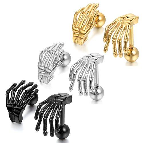OIDEA Orecchini per Uomo Orecchini in Acciaio Inox Forma Artiglio Scheletro Stile Punk Nero Oro Argento(3 Coppie)