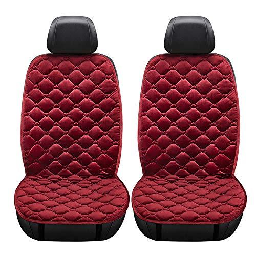 KKmoon Stoelovertrek voor auto, 12 V, multifunctioneel zitkussen, verwarmt warmte, enkel kussen, voor verwarming, autokinderzitjes, winterverwarming, velours, zwart 2 Rood