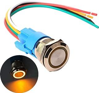 No-Moment/áneo Interruptores Acero Inoxidable Impermeable Plana Top ON//Off 12V-24V 5A Pulsador con Enchufe de Cable Gebildet 19mm Enclavamiento Pulsador de Bot/ón Met/álico LED Blanco