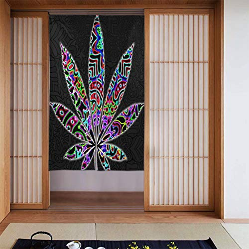 Cyloten Multi Color Trippies Cannabis Leaf Weed Doorway Curtain Door Hanging Tapestry Lightweight Partition Door Curtains Privacy Home Decor Window Drapery for Bistro Fitting Room Kitchen Closet