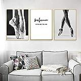 LIANGX Cuadro de ballet en blanco y negro para pared, diseño de bailarines de ballet, arte de pared, póster de pared e impresiones, decoración de salón sin marco (3 x 30 x 40 cm)