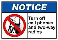 165グレートティンサインアルミニウムターンオフ携帯電話と双方向ラジオは屋外と屋内の看板の壁の装飾に注意12x8インチ