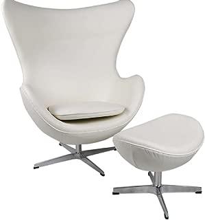 MLF Arne Jacobsen Egg Chair & Ottoman in Top White/Cream Aniline Leather