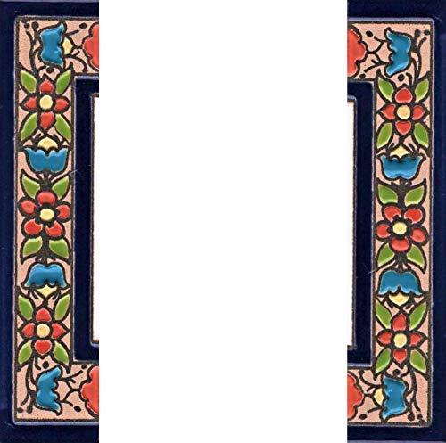 Hausnummern und Buchstaben aus Keramik, rot, blau und grün, Blumenmotiv, Größe: 11 cm x 5,5 cm, 2 bis 7 Fliesenrahmen (halbe Enden als Set)