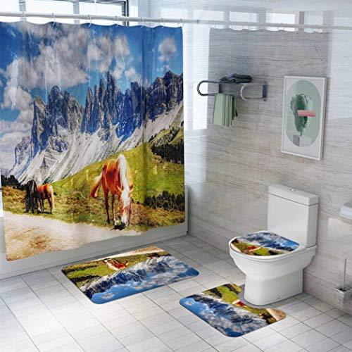 OMUSAKA Badematte Wild Anti-Rutsch-saugfähigen weichen Bad Teppich Duschvorhang WC Badewanne Bodenmatte Set