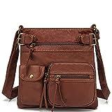 Scarleton Multi Pocket Crossbody Bag for Women, Purses for women, Shoulder Bag, Ultra Soft Washed Vegan Leather Shoulder Purse, H183304 - Brown