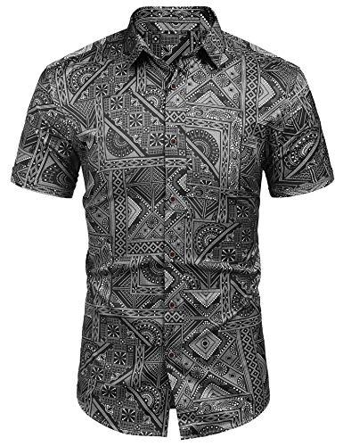 Coshow Hawaihemd Herren 3D Gedruckt Muster Hemd Kurzarm Funky Shirt Regular Fit Männer Freizeithemd (Schwarz, Medium)