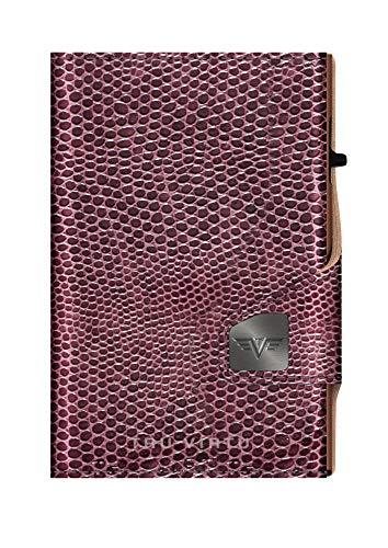 Tru Virtu Cartera con protección RFID/NFC – Cartera Click & Slide Iguana Glossy BlackBerry/Brown – Tarjetero con ranura de aluminio y cuero para hombre y mujer – 9,9 x 6,7 x 2,1 cm