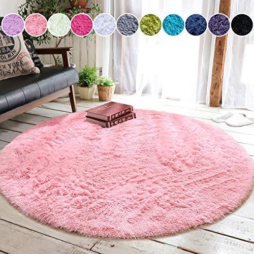 Junovo Round Fluffy Soft Area Rugs for Kids Room Children Room Girls Room Nursery,4 Feet,4-Feet,Pink