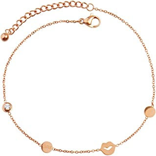 CXQ Fashion Temperament Anklet Women's Wild Kiss Rose Gold Foot Ring Jewelry Accessories Gift