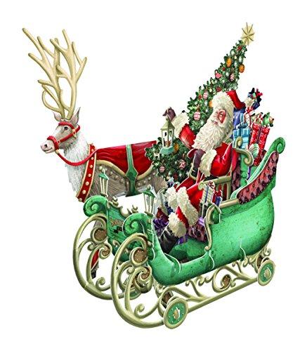 Biglietti di Natale,slitta di Babbo Natale,3D pop-up in carta artistica