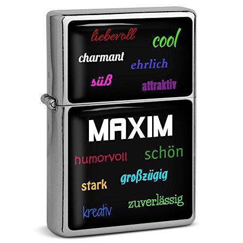 PhotoFancy® - Sturmfeuerzeug Set mit Namen Maxim - Feuerzeug mit Design Positive Eigenschaften - Benzinfeuerzeug, Sturm-Feuerzeug