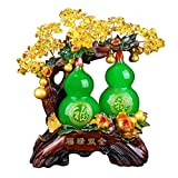 WSFANG Feng Shui Money Treei Fortunato Zucca Fortune Albero di Cristallo Money Tree Mano Opera Bonsai di Stile di Decorazioni for Fortuna e ricchezza Housewarming Gift (Giallo) per L'Ufficio a casa